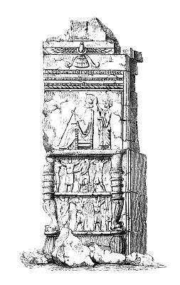 帕希玻里斯,雕刻图像,19世纪风格,码头,垂直画幅,绘画插图,纪念碑,古董,无人,废墟
