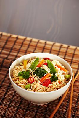 面汤,鸡肉面条汤,鸡汤,垂直画幅,无人,开胃品,特写,芫荽叶,辣椒,东方食品
