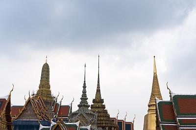 曼谷,玉佛寺,留白,建筑,灵性,水平画幅,无人,户外,僧院,泰国