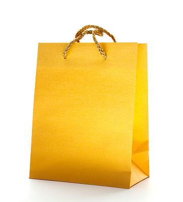 礼物,黄金,购物袋,垂直画幅,无人,白色背景,背景分离,纸袋,线绳