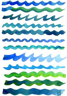 波形,水彩画,自然,垂直画幅,水,式样,艺术,纹理效果,绘画艺术品