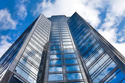 正下方视角,蓝色,摩天大楼,多伦多,单色图片,步行视角,天空,未来,外立面,水平画幅