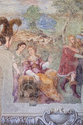 纳布勒斯,回廊,泥墙画,意大利,圣诞老公,大约13世纪,那不勒斯海湾,女修道院,廊柱,垂直画幅