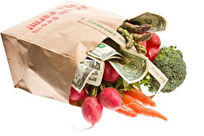有机食品,华贵,纸袋,美国一美元钞票,褐色,胡萝卜,水平画幅,灯笼椒,无人,想法