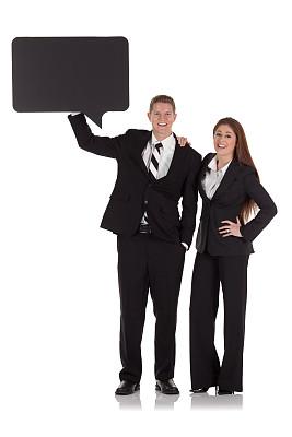 对话气泡框,商务,异性恋,手搭在肩膀上,垂直画幅,正面视角,留白,注视镜头,消息,伴侣