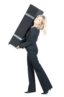 重的,女商人,重量,垂直画幅,提举,努力,套装,行李,白人,责任