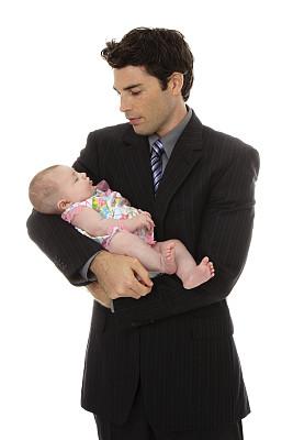 男商人,青年人,女婴,白色背景,仅一名女婴,垂直画幅,套装,仅婴儿,专业人员,单亲父亲