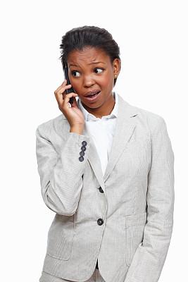 女商人,手机,垂直画幅,半身像,非裔美国人,仅成年人,白领,青年人,专业人员,看