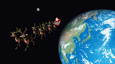 太空,日本,在上面,圣诞老公,水平画幅,轨道运行,月亮,圣诞老人,礼物
