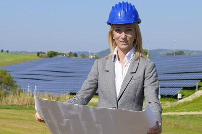 做计划,工程师,太阳能发电站,女性,负责任的企业,天空,半身像,能源,套装,图像
