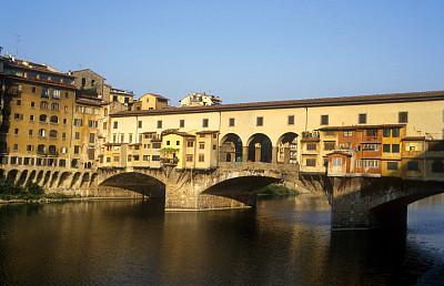 维基奥桥,桥,阿诺岛礁,外立面,水平画幅,高视角,无人,佛罗伦萨,商店,都市风景