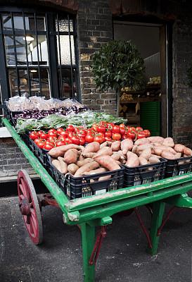贝若,商店,户外,蔬菜,巴罗市场,橱窗展示,蔬菜水果店,月桂树,甘薯,独轮手推车