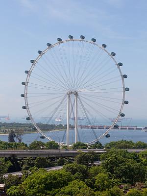 摩天轮,新加坡摩天观景轮,穿插表演,滨海湾 ,新加坡市,了望塔,垂直画幅,天空,车轮,休闲活动