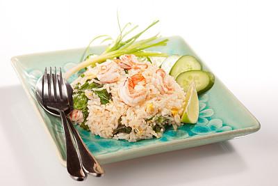 明虾,选择对焦,留白,葱,水平画幅,羽衣甘蓝,柠檬,酸橙,白色,东南亚