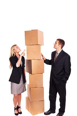 盒子,白色背景,商务人士,办公室搬家,垂直画幅,留白,半身像,垒起,套装,经理
