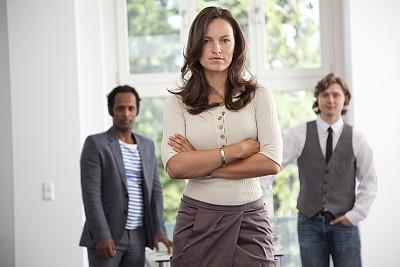 青年人,三个人,商务人士,办公室,美,30到39岁,水平画幅,注视镜头,美人,决心