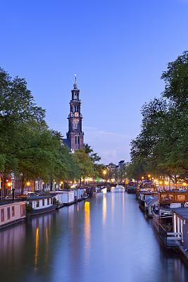 夜晚,运河,荷兰,阿姆斯特丹,船屋,垂直画幅,纪念碑,水