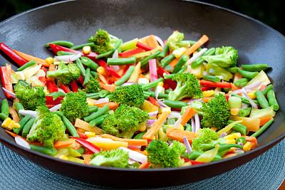 蔬菜,炒菜锅,黄色灯笼椒,胡萝卜,水平画幅,灯笼椒,椒类食物,膳食,锅,特写