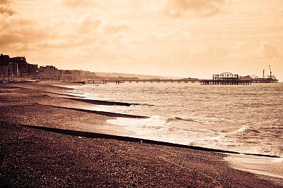 古典式,明信片,布赖顿海滩,时尚,布莱顿海滩,气象学家,布赖顿,英吉利海峡,水,天空