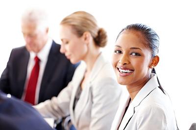 会议,青年人,女商人,办公室,选择对焦,美,30到39岁,半身像,水平画幅,注视镜头