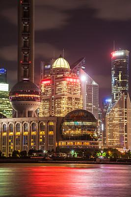 夜晚,上海,黄浦江,黄浦区,浦东,垂直画幅,天空,无人,户外,都市风景