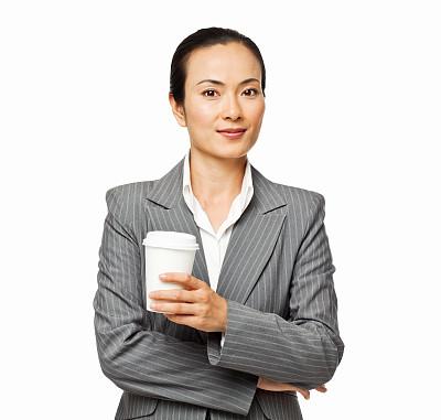 女商人,咖啡杯,分离着色,美,留白,半身像,水平画幅,注视镜头,美人,一次性杯子