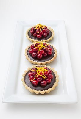 蛋塔,巧克力,蔓越桔,橙子,垂直画幅,选择对焦,饮食,甜馅饼,水果,香橙皮