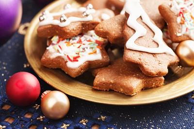 饼干,多样,盘子,姜饼人,褐色,水平画幅,无人,组物体,图像