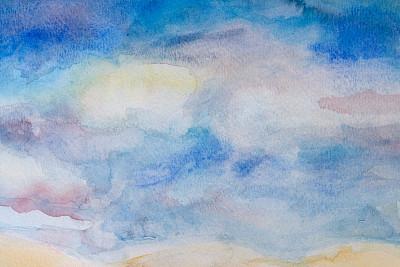 天空,抽象,水彩画,手工着色,留白,艺术,水平画幅,无人,蓝色