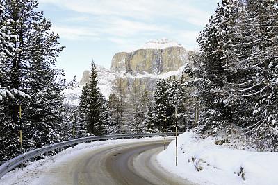 阿尔卑斯山脉,地形,阿尔塔巴迪亚山,滑雪杖,s形,蜿蜒,旅途,运动,云景,山口