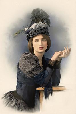 肖像,维多利亚女王时代风格,等,垂直画幅,美,古董,艺术,美人,古典式,不看镜头