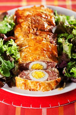 肉馅面包,鸡蛋,奶酥,煮鸡蛋,垂直画幅,正面视角,无人,特写,肉,一个物体