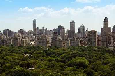 城市天际线,纽约,摩天大楼,平衡折角灯,办公大楼,窗户,哥伦布盘,中央公园,美国,水平画幅