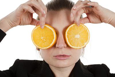 橙子,拿着,青年女人,人的眼睛,美,水平画幅,美人,人的嘴,白人,仅成年人