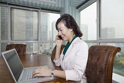 女商人,使用手提电脑,东方人,仅中年女人,30岁到34岁,男商人,图像,经理,仅成年人,技术