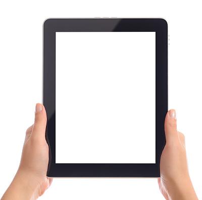 白色,拿着,平板电脑,显示器,垂直画幅,留白,水平画幅,消息,白人,部分