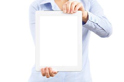 白色,女人,拿着,平板电脑,分离着色,黑屏,留白,边框,水平画幅,部分