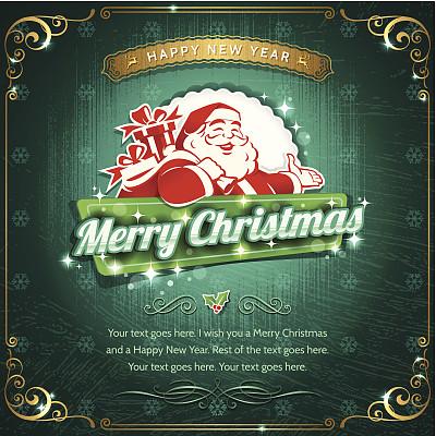 贺卡,边框,无人,绘画插图,新年,符号,古典式,圣诞老人,标签