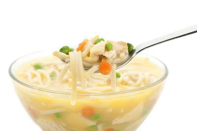 鸡肉面条汤,鸡汤,饮食,主食,水平画幅,无人,玻璃,玻璃杯,白色背景,背景分离