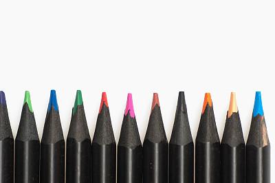 铅笔,手工艺设备,水平画幅,橙色,无人,色彩鲜艳,蓝色,写字器具,白色背景,组物体