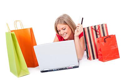 青年女人,留白,顾客,商店,电子商务,仅成年人,网上冲浪,青年人,白色,技术