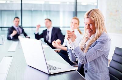 女商人,办公室,水平画幅,工作场所,会议,人群,白人,男商人,男性,白领