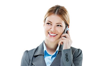 女商人,美,彩妆,水平画幅,电话机,美人,白人,仅成年人,青年人,白色