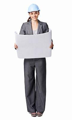 女商人,蓝图,看,分离着色,垂直画幅,套装,图像,安全帽,仅成年人,建筑业