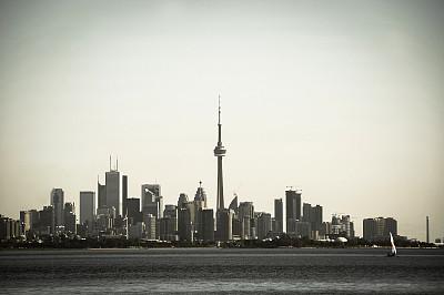 多伦多,绿色,灰色,思盖顿,安大略湖,多伦多电视塔,城市扩张,五大湖,加拿大文明,正面视角