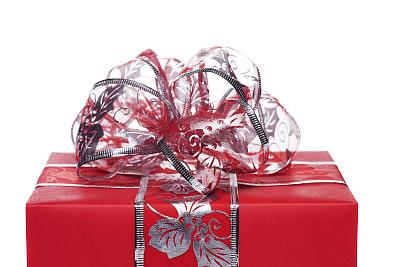 圣诞礼物,新的,水平画幅,形状,银色,无人,蝴蝶结,新年,白色背景