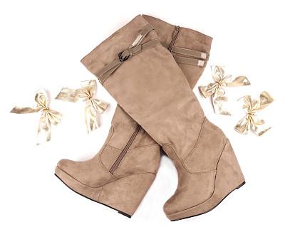 皮革,靴子,现代,拉链,美,褐色,新的,水平画幅,无人,蝴蝶结