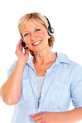 耳麦,自然美,衣服,中老年女人,总机人员,免提装置,垂直画幅,半身像,it技术支持,仅成年人