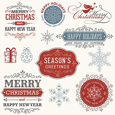 标签,四元素,礼物标签,无人,绘画插图,古典式,圣诞装饰物,字体,复古风格
