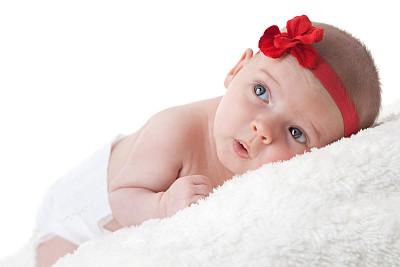 白色,毯子,新生儿,毛绒绒,艾滋病警示丝带,蝴蝶结,仅一名女婴,束发带,尿布,留白